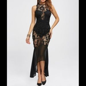 Dresses & Skirts - Black Lace Bodycon Mermaid Chiffon Evening Gown